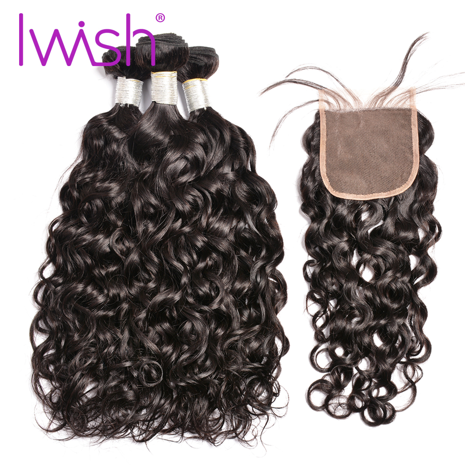 Iwish Brazilian Water Wave with Closure 3 Bundles Human Hair with Free/Middle/Three Part Closure Remy Hair Weave Extesions 1B