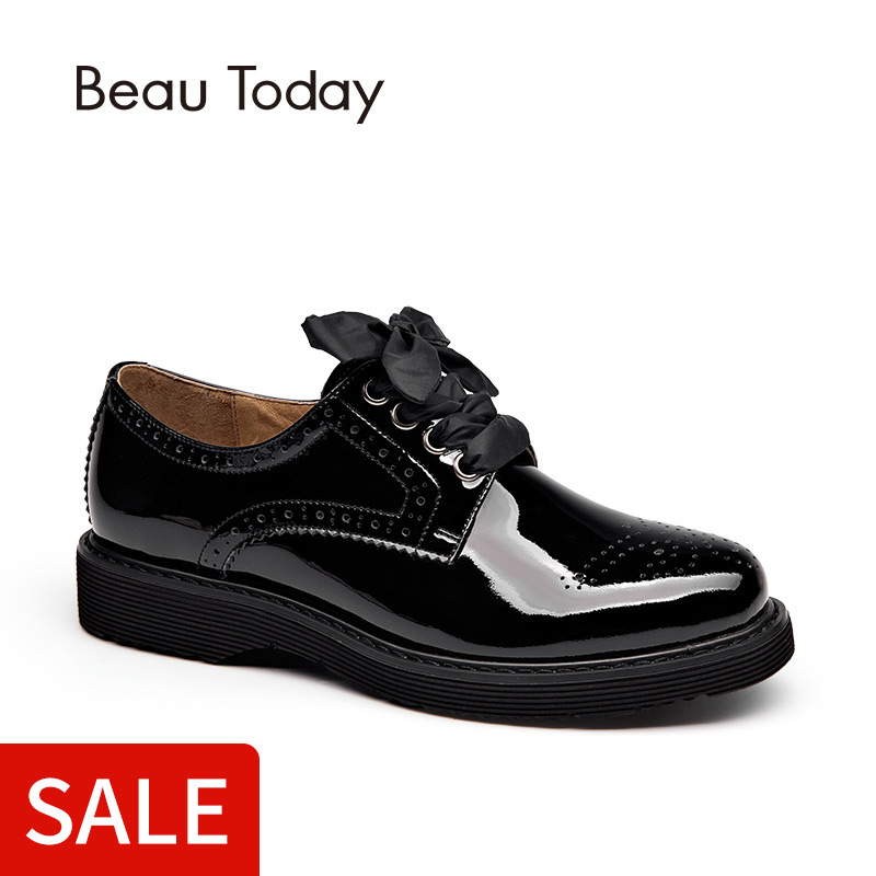 85f484b096565 BeauToday Derby Shoes Women Genuine Cow Leather Round Toe Patent Leather  Handmade Brogue Style Flats 3 Kinds of Shoelaces 21083