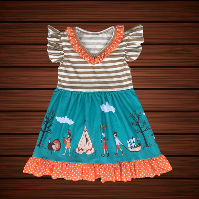 Baby Kids Thanksgiving Day Dress Remark Children Clothes Baby Frock ...