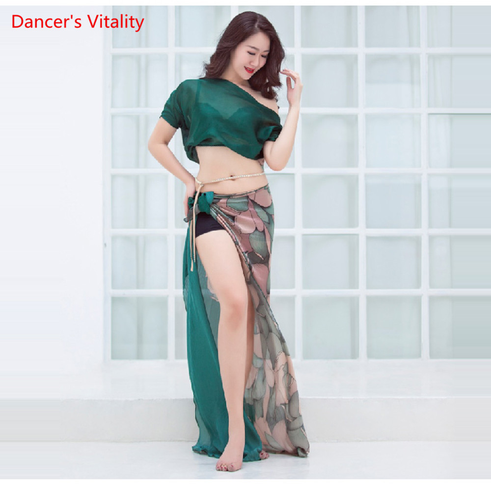 New Belly Dance Summer Beginners Top Long Skirt 2pcs Performance Set Oriental Dance Stage Performance Clothing