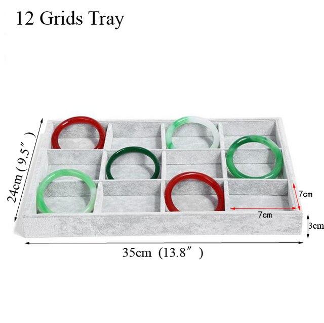 Fashion Ice Grey Velvet Jewelry Tray Jewelllery Storage Box Watch Holder 1