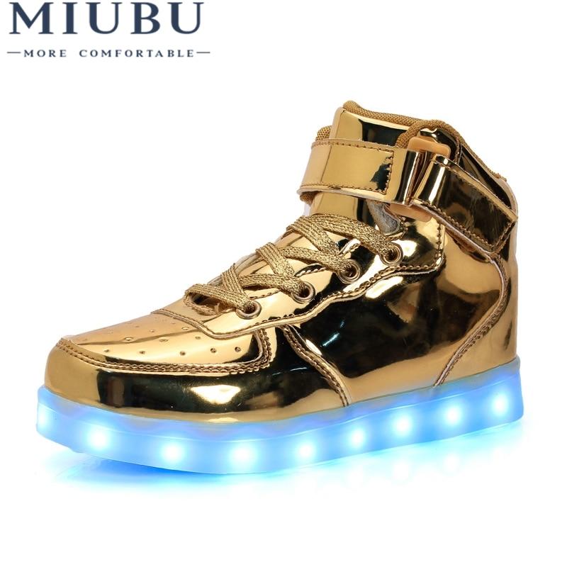 White 22 Alamana Fashion Kids Girls Boys Colorful Sneaker LED Light Anti-Slip Casual Shoes Gift