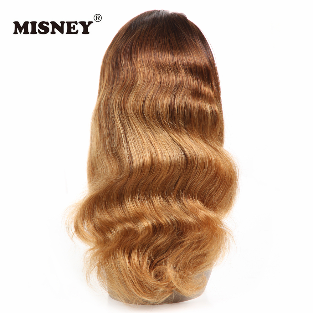 360 Lace Wigs Human Hair Wigs Body Wave Two Tone Ombre Blonde Color Brazilian Hair Hand Tied