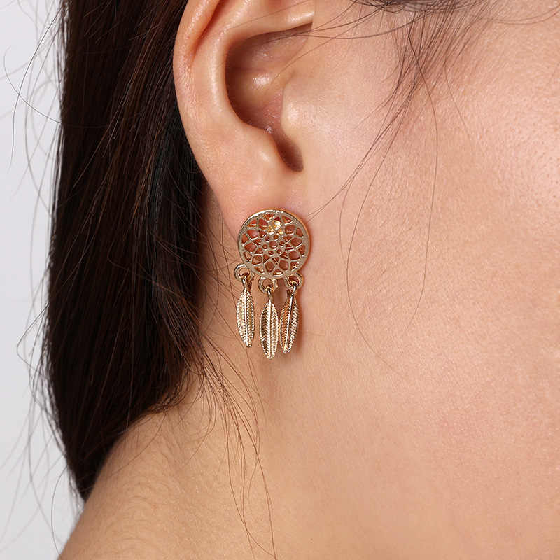 2018 New Hot Fashion Silver plated Bohemia Nationality Feather Dream Catcher Dreamcatcher Drop Earrings For Women Jewelry