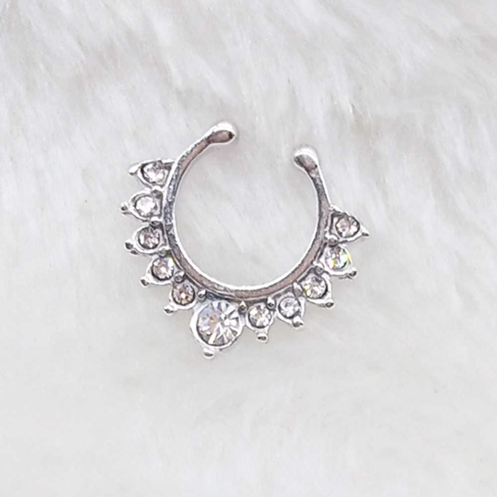 MỚI Tinh giả mũi vòng 3 màu tròn vách ngăn Xỏ Lỗ bấm giả kẹp không Cơ Thể Vòng Cho Nữ thân trang sức