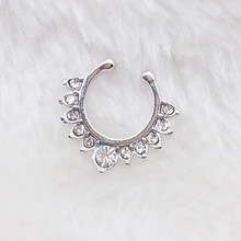 NEW Crystal fake nose ring silver plated round septum Piercing clicker faux clip non Body Hoop For Women body jewelry(China)