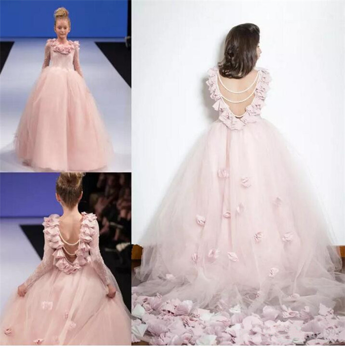 2017 Princess Pink Tulle Flower Girl Dresses Long Sleeve Lace Little Girls Pageant Gown First Communion Dress hot sale custom cheap pageant dress for little girls lace beaded corset glitz tulle flower girl dresses first communion gown
