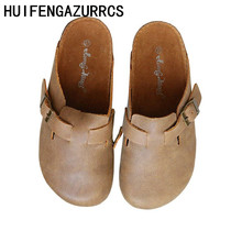 HUIFENGAZURRCS-Genuine leather slippers,pure handmade cowhide flat-heeled shoes, Korean version Comfortable womens shoes
