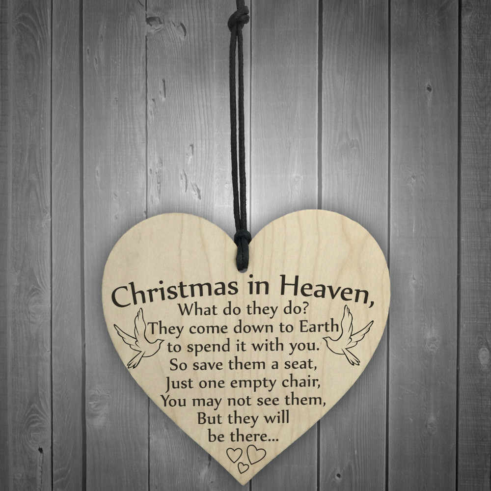 Christmas ornaments for tree Decoration Xmas in Heaven Wood Heart Plaque Sign Friendship Home Decoration #YY