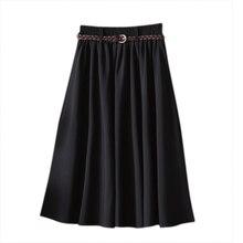 H קיץ נשים חצאית נוחות מוצק קו אמצע עגל חצאית נקבה בתוספת גודל חצאיות