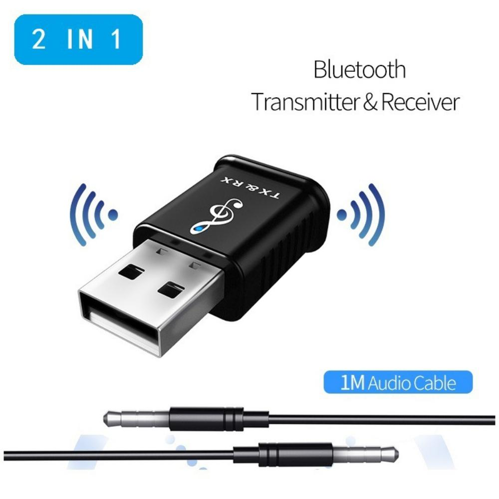 2-in-1 Music Audio Transceiver Receiver Transmitter For Bluetooth 5.0, USB Computer Speaker Headphone Adapter