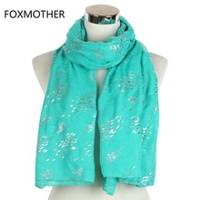 FOXMOTHER New Fashion Foil Sliver Fish Scarfs For Women Ladies