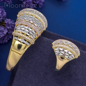 Image 4 - MoonTree Fashion Luxury Super 3 Tone Boom Flowers AAA Cubic Zirconia Women Party Engagement Width Bracelet Bangle And Ring Set
