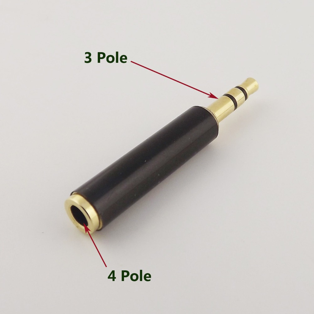 1pcs 3.5mm Stereo 3 Pole Male to 1/8 4 Pole 3 Ring Female Audio Adapter Converter1pcs 3.5mm Stereo 3 Pole Male to 1/8 4 Pole 3 Ring Female Audio Adapter Converter