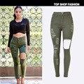 Высокая талия army green denim карандаш брюки женщин высокого качества эластичный камуфляж развивать нравственность разорвал отверстие джинсы женщина