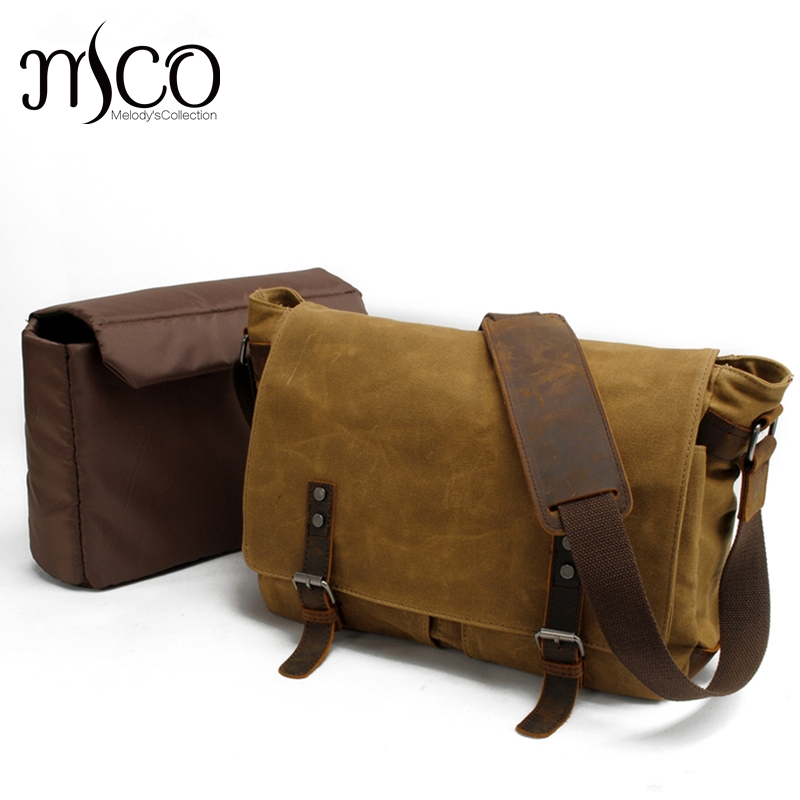 4b0692b62906 Men Shoulder Bag Oil Waxed Waterproof Canvas Travel Military Vintage  Messenger Bags 14 inch Computer Laptop