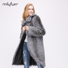 Milyfuer Real Fox Fur Coats Women Long Silver Fox Fur Coat Jacket Autumn Winter Thick Warm Fur Strip Sewed Together Casual Coats