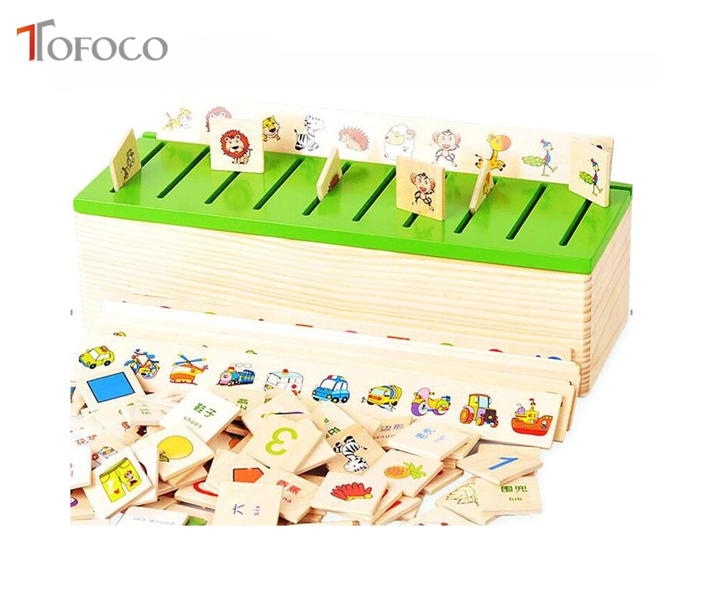 TOFOCO Educational Early Learning Toys Baby Toys Knowledge Classification Box Wooden Toys Article Animal Blocks