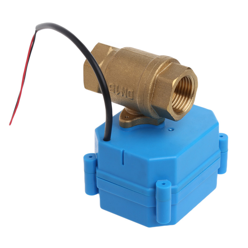 1Pc 1/2 Motorized Ball Valve DN15 2 Way Electrical Valve DC 12V 1 2 dc24vbrass 3 way t port motorized valve electric ball valve 3 wires cr301 dn15 electric valve for solar heating