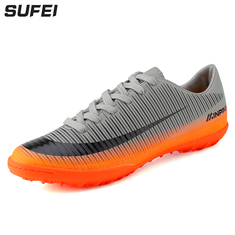 sufei Soccer Shoes For Men Football Boots TF Indoor Futsal Sport Training Cheap Cleats Athletic Trainers babyono нагрудник на липучке жирафики