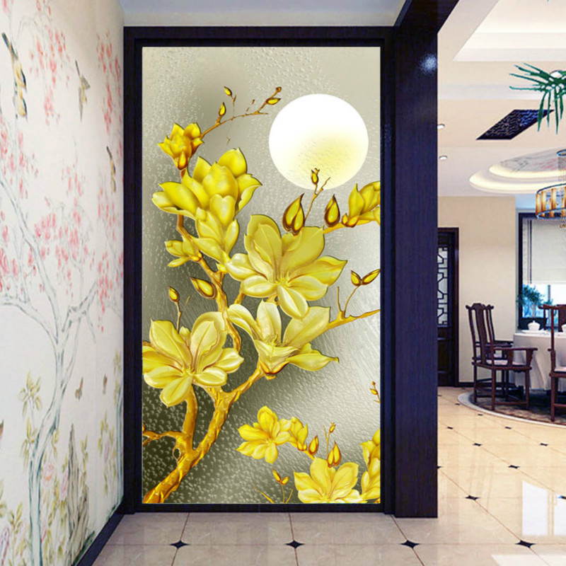 8d Silk Nature Wallpaper Mural 3d Wallpapers For Living Room Wall Papers Home Decor Murals Roll TV Background Gold Tree In Moon