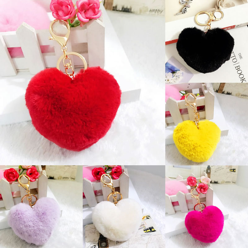Details about  /Fashion Women Car Bag Keychain Fluffy Ball Heart Key Chain JH