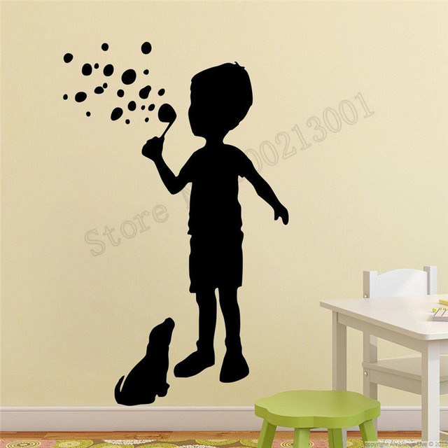 e4f1b808f0c Vinyl Art Removeable Decor Children And A Dog Room Sticker Active Life  Happy Wall Decoration Beauty Ornament Mural Decal LY645