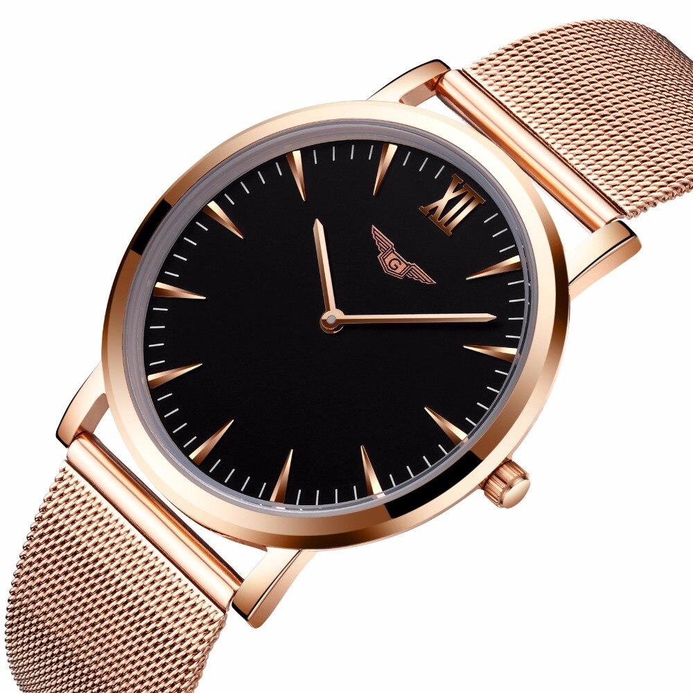 Luxury Brand Watches GUANQIN Quartz Watches Men Ultra Thin Wrist Watch Male Waterproof Clock Simple Style Mesh Belt Waistwatches все цены