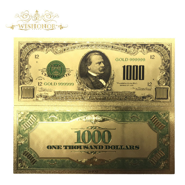 100pcs Lot 1899 Year S Color Usa Gold Banknote 1000 Dollar Banknotes Replica Money Bills Plated Business Gift Collection