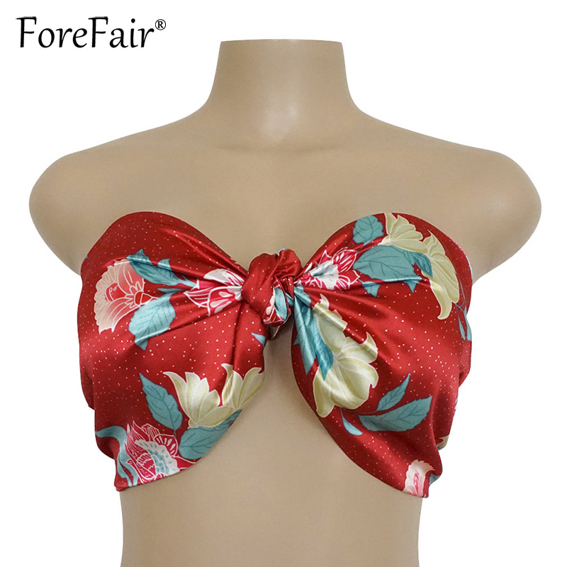 28cd417daa4 Forefair 2018 Summer Women Sexy Strapless Tie Bow Tube Top Floral Print Red  Cropped Bra Bandeau Flames Streetwear Crop Top-in Tank Tops from Women's ...