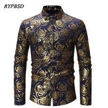 2019 Spring Fashion Rose Floral Print Slim Fit camisa masculina Young Social Stage Singer Mens Long Sleeve Dress Shirt 4 Colors