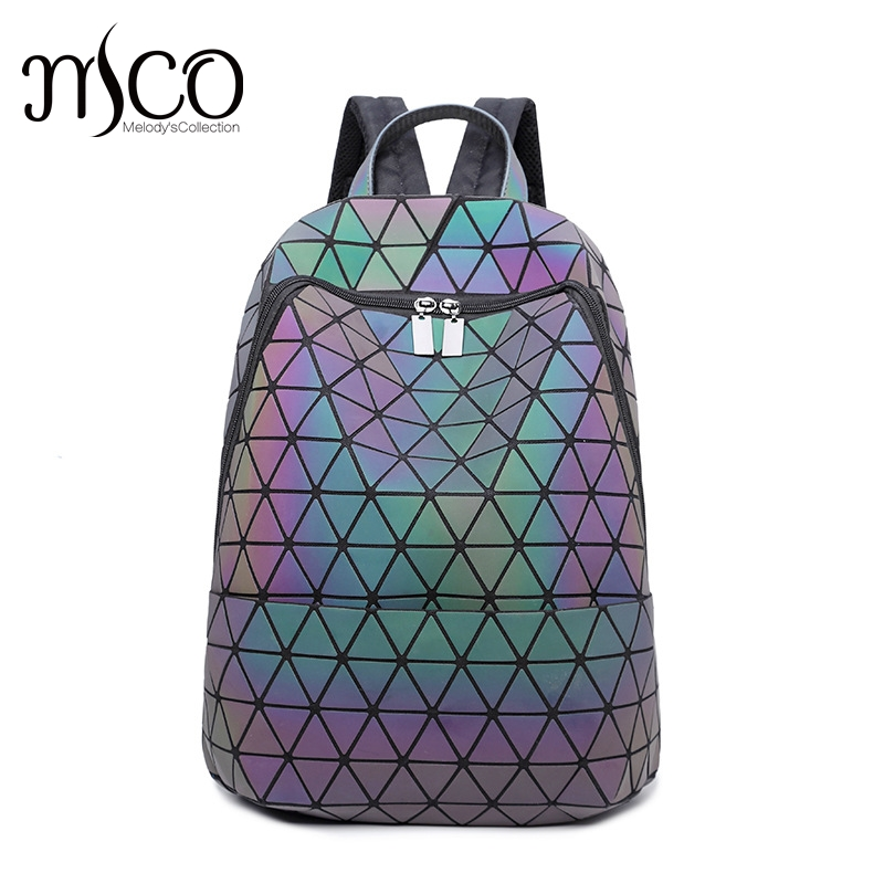 2017 Japan Style Laser Holographic Women Bao Night Luminous Backpack Quilted Daypack Big Bag Geometry Diamond Travel Backpacks