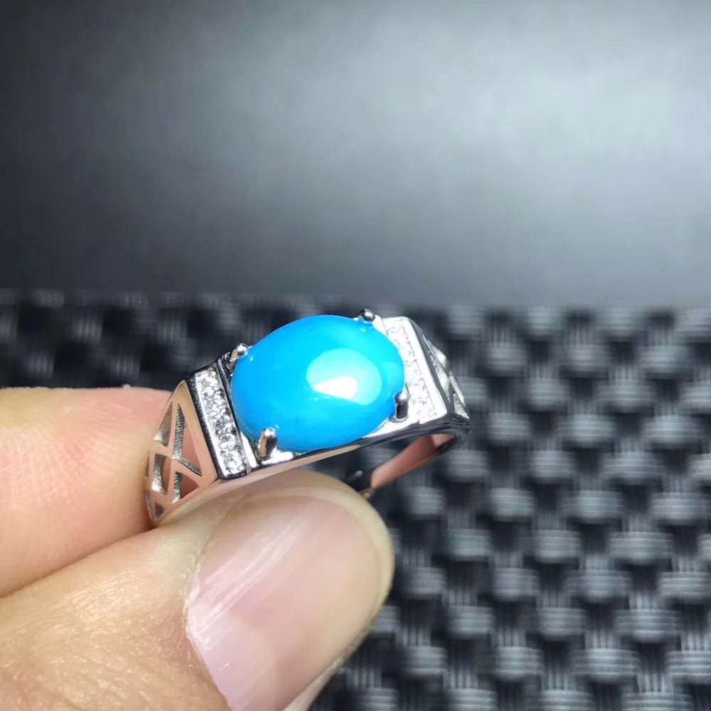 Natural blue turquoise ring, 925 silver, from natures products, beautiful style, rare gemstonesNatural blue turquoise ring, 925 silver, from natures products, beautiful style, rare gemstones