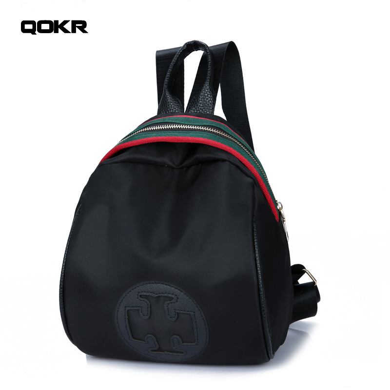 QOKR women small backpacks famous brands designers nylon black pure daypacks cross stripe decorations female rucksack mochilas ...