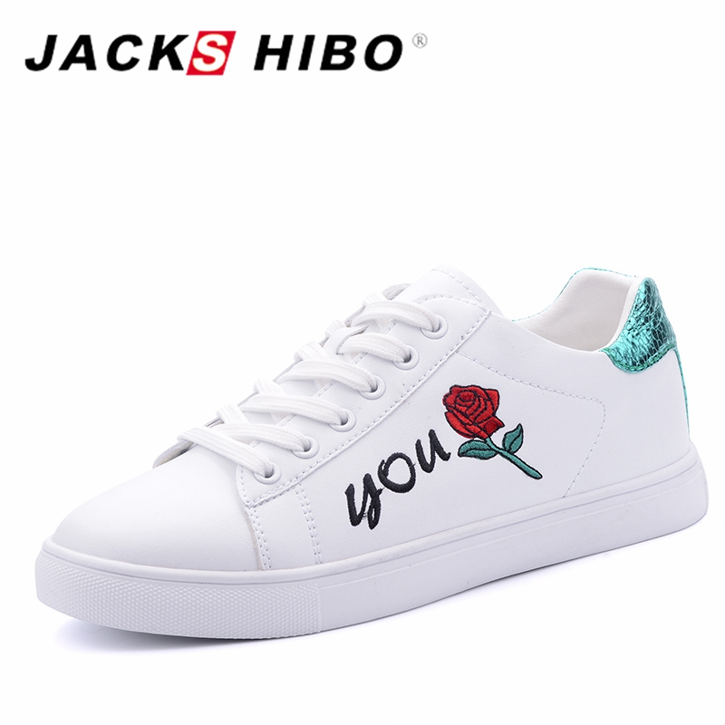JACKSHIBO Design Rose Blumenmuster Flache Schuhe Frauen Rot und Grün - Damenschuhe - Foto 3