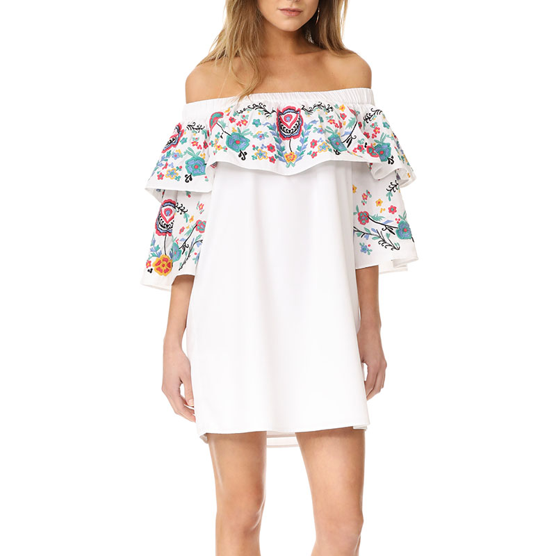 Fashion Mini Women Dress 2017 Summer Floral Print Ruffles Half Sleeve Slash Neck Off Shoulder Loose Ladies Casual Party Elegant