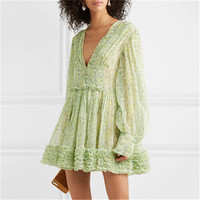 2019 Newest Women Sexy V neck Green Dress Long Sleeve Summer Dresses High Quality Slim Holiday and Vocation Mini dress Dresses