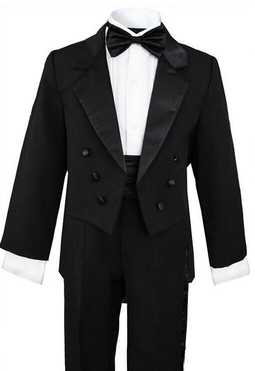 Black Tuxedo Kids Custom Made Smoking Casamento Evening Tuxedo Suit Boy clothing (Coat+Pants+Tie+Shirt) 4 Pieces B45F803