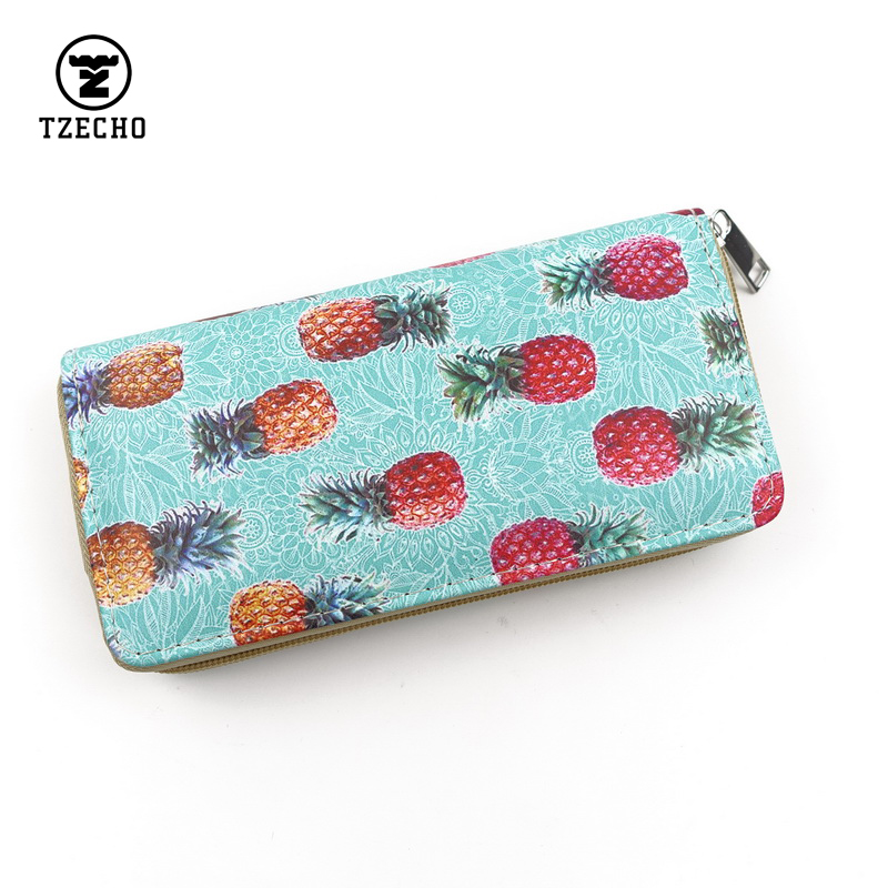 TZECHO Long Zipper Wallet Women's Clutch Wallet Phone Money Bag Purse Card Holder Print Cartoon Ladies Clutch Bags Coin Package cutelee newborn soft cotton baby romper o neck costumes long sleeve baby girl boy rompers baby clothing ropa next baby jumpsuit