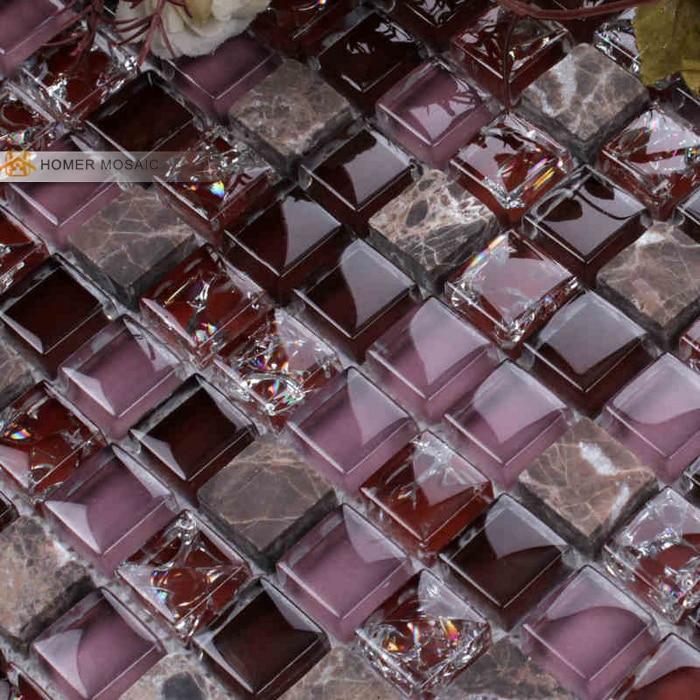 charming purple color glass mixed stone tile wall mosaic tile bathroom tiles backsplash mosaic tile free shipping