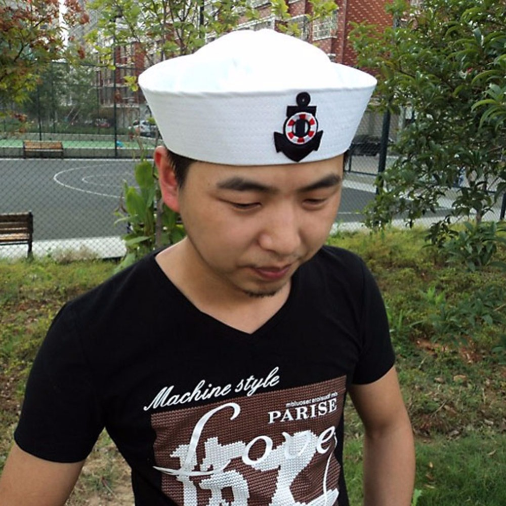 a44bbe66715d7 Fashion Sailor Hats Military Caps White Navy Army Hat with Anchor Fancy  Cosplay Dress Accessories Adult Child Military Hats-in Military Hats from  Apparel ...
