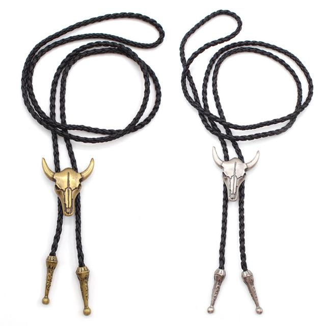 Lychee Punk Gothic Style Metal Bull Head Bolo Tie Western Cowboy Artificial Leather Necktie Bola