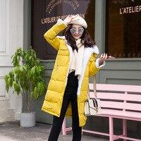 פיות חלומות החורף ארוך Jacket של נשים צמר כבש לבן למטה מעיל Parka עיבוי חם בתוספת גודל בגדים צהובים שחור כחול