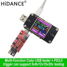 цена на USB tester TFT DC Digital voltmeter current voltage meter volt amp ammeter detector power bank charger indicator + PD3.0 trigger