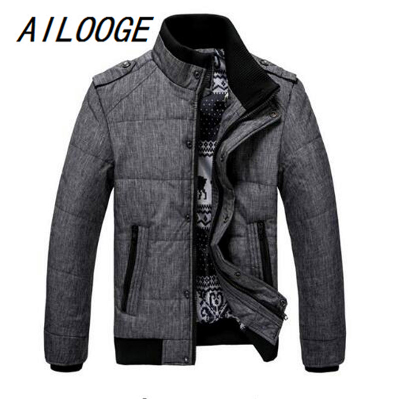 AILOOGE 2017 New Brand Winter Warm Jacket for Men Hooded Coats Casual Mens Thick Male Slim Cotton Padded Fit Snow Cold Outerwear free shipping winter parkas men jacket new 2017 thick warm loose brand original male plus size m 5xl coats 80hfx