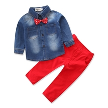 New retail fashion 2018 children s bow tie jeans fashion long sleeved pants casual clothing kids