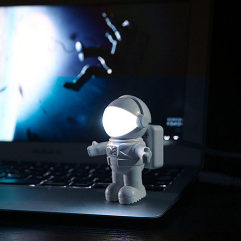 New Style Pure White Cool New Astronaut Spaceman USB Light LED Adjustable Night Light For Computer PC Lamp Desk Light