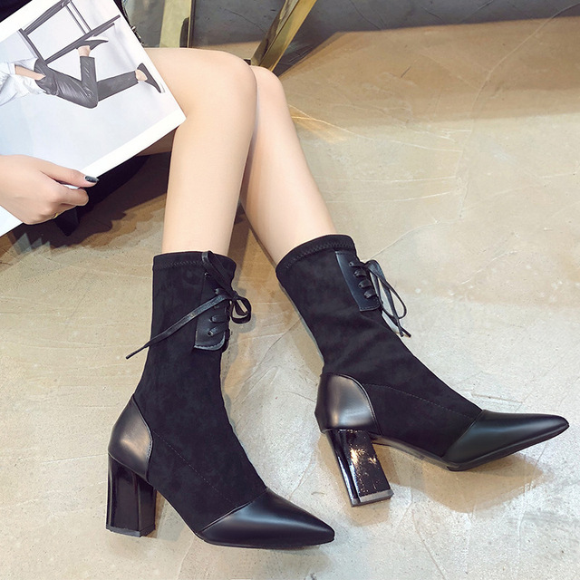 Xiaying Smile Winter Women Mid-Calf Boots New Style Pointed Toe Solid Shoes Laies Fahsion Casual Lace-up Flock Women Shoes 5