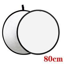 """Bolso libre 32 """"2-in-1 Mulit Luz Plegable Fotografía Reflector 80 cm accesorios de Fotografía blanco y Plata para luz de flash suave"""