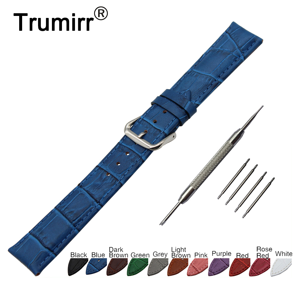 18mm 20mm 22mm 24mm Croco Genuine Leather Watch Band for Breitling Stainless Steel Pin Buckle Strap Wrist Belt Bracelet + Tool